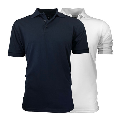 2-Pack Pique Polo // White + Navy (S)