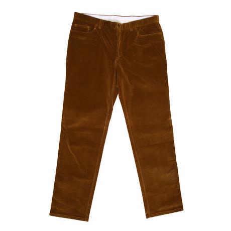 Corduroy Jean Style Pants // Gold + Brown (28)