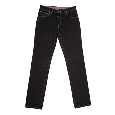 5 Pocket Denim Jean Pants // Burgundy (28)