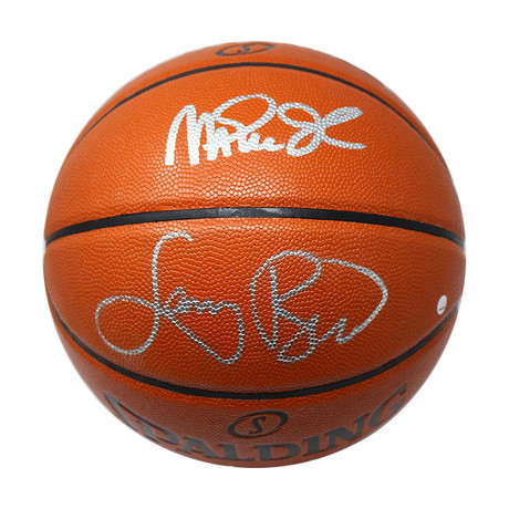 Dual Signed NBA Basketball // Magic Johnson + Larry Bird