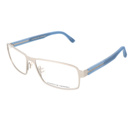 Men's P8231 Optical Frames // Silver Matte + Blue Matte