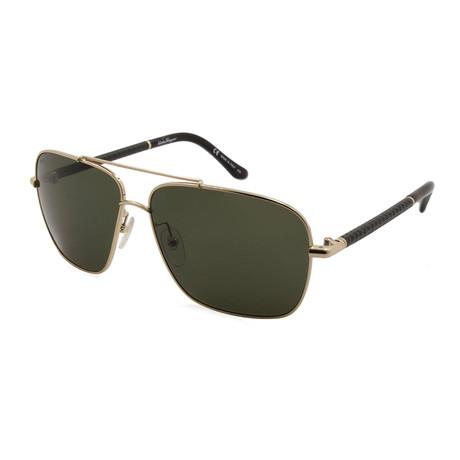 Ferragamo // Men's Navigator Sunglasses // Gold + Green