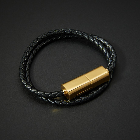Leather Lightning Bracelet // 24K Gold
