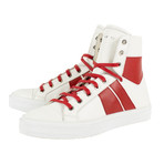Amiri // Sunset Hi-Top Sneakers // White + Red (US: 6)