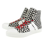 Amiri // Sunset Checkered Canvas Hi-Top Sneakers // Black + White (US: 6)