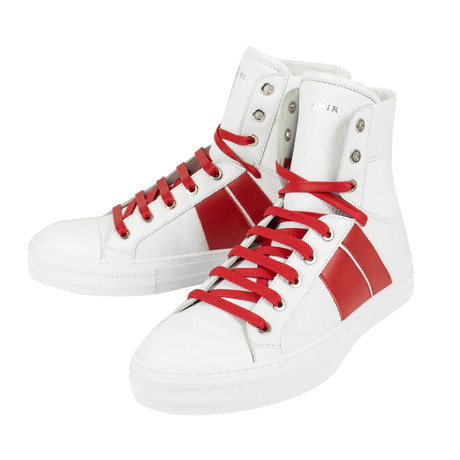 Amiri // Kayd Sunset Hi-Top Sneakers // White + Red (US: 6)