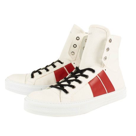 Amiri // Sunset Canvas Hi-Top Sneakers // White + Red (US: 6)