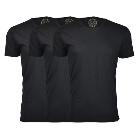 Organic Semi-Fitted Crew Neck T-Shirt // Black + Black + Black // Pack of 3 (S)