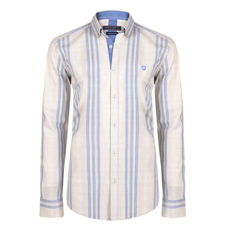 Caelum Dress Shirt // Beige + Navy (S)