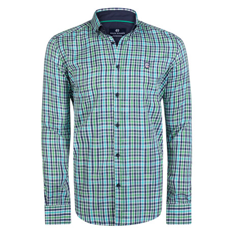 Draco Dress Shirt // Green + Navy + White (S)