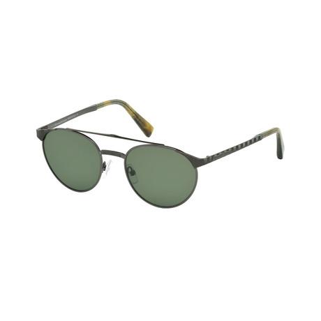 Zegna // Men's Metal Top Bar Sunglasses // Shiny Gunmetal + Green