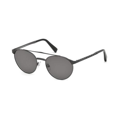 Zegna // Men's Metal Top Bar Sunglasses // Matte Gunmetal + Smoke