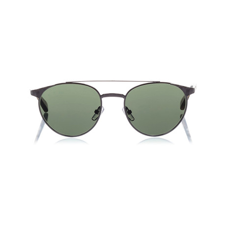 Zegna // Metal Top Bar Sunglasses // Shiny Gunmetal + Green
