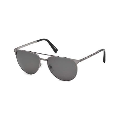 17dd4493fbc Zegna    Men s Modern Aviator Polarized Sunglasses    Shiny Dark Ruthenium  + Smoke Polarized
