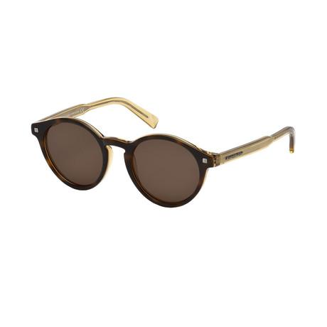 Zegna // Men's Classic Round Sunglasses // Havana + Brown