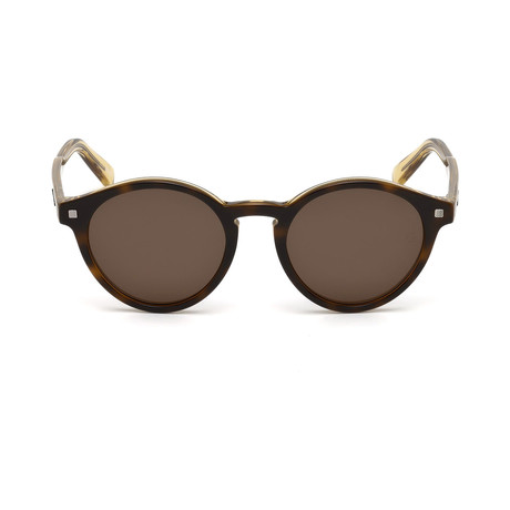 Zegna // Classic Round Sunglasses // Havana + Brown