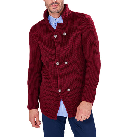 Knit Double Button Jumper // Bordeaux (S)