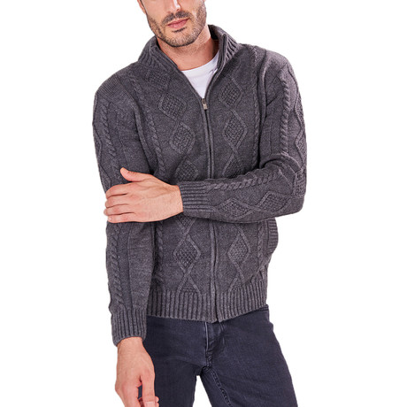 Patterned Zip-Up Sweater // Anthracite (S)