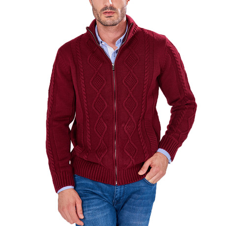 Patterned Zip-Up Sweater // Bordeaux (S)