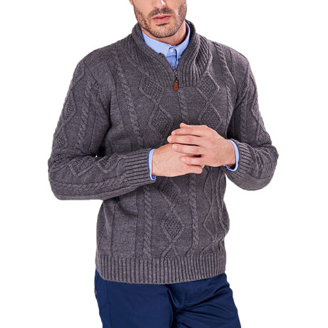 Patterned Quarter-Zip Sweater // Anthracite (S)