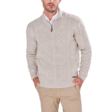 Patterned Quarter-Zip Sweater // Beige (S)