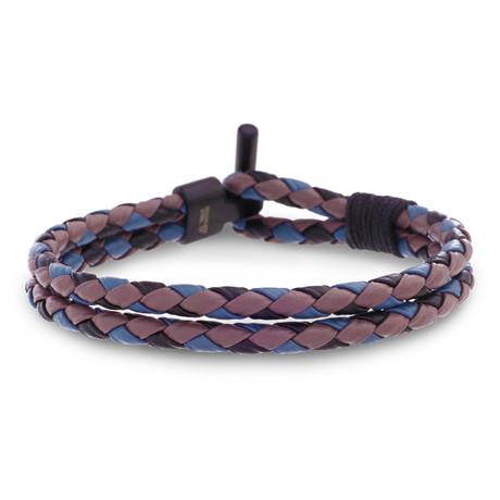 Double Layer Leather Bracelet // Gray + Black + Purple