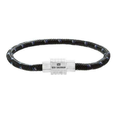 Geometric Rondelle Cord Bracelet // Blue + Black