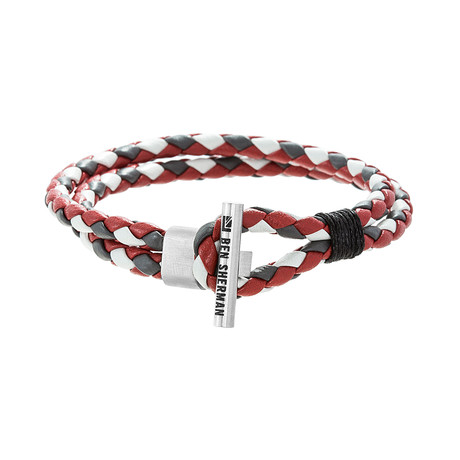 Double Layer Leather Toggle Bracelet // Gray + White + Red