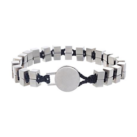 Cubed Beaded Cord Bracelet // Black + White