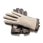 Crochet Gloves // Beige + Brown (L)