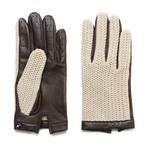 Crochet Gloves // Beige + Brown (S)