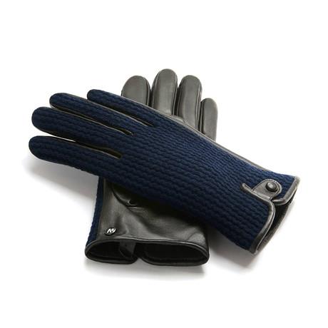 Wool Gloves // Dark Blue + Black (S)