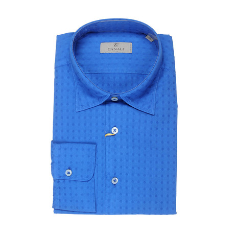 Canali // Patterned Slim Fit Shirt // Blue (S)