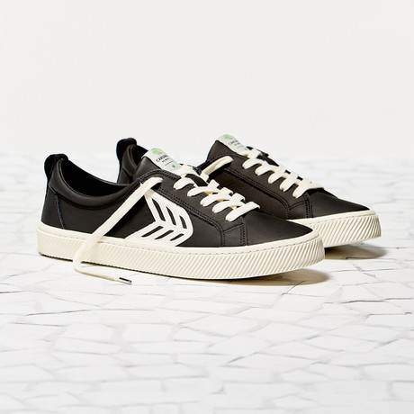Catiba Low Leather // Black + White (US: 8)