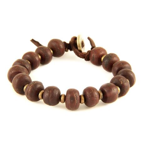 Beaded Bracelet // Brass + Brown