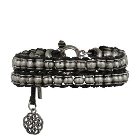 Barrel Beaded + Leather Wrap Bracelet // Silver Ox + Black