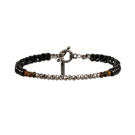 Clustered Round Semi-Precious Stones Bracelet // Black Crystal + Tiger's Eye