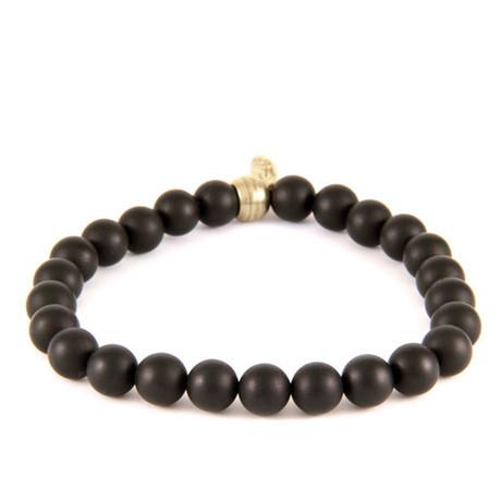 Elastic Beaded Bracelet // Silver Ox + Black Matte