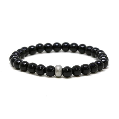 Onyx Elastic Beaded Bracelet // Silver Ox + Black