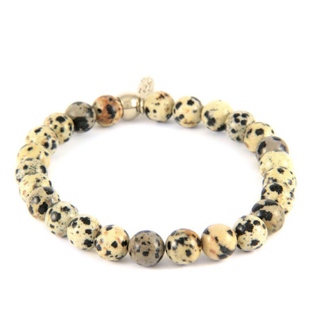 Dalmatian Jasper Elastic Beaded Bracelet // Silver Ox + Black