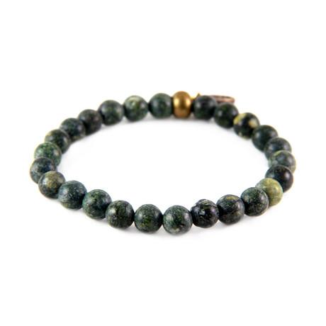 Rust Elastic Beaded Bracelet // Brass