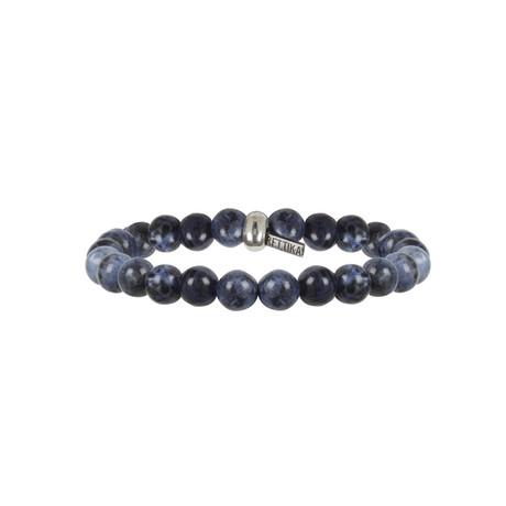 Elastic Beaded Bracelet // Silver Ox + Sodalite