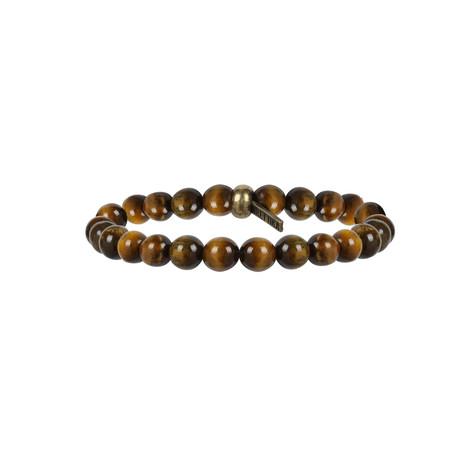 Elastic Beaded Bracelet // Brass + Tiger's Eye