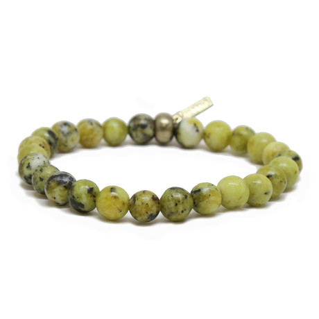Elastic Beaded Bracelet // Brass + Yellow Turquoise