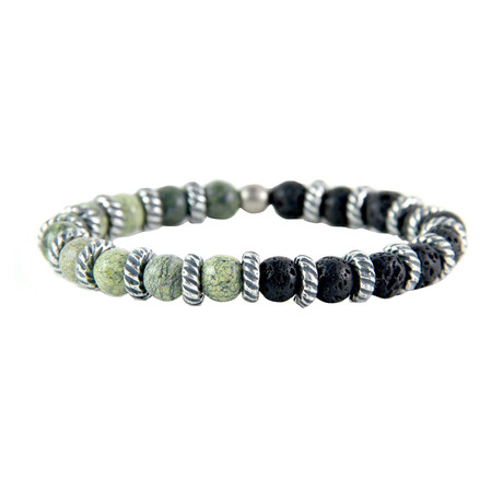 Two-Tone Elastic Beaded Bracelet // Silver Ox