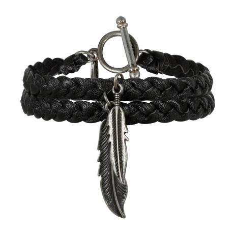 Dragon's Feather Bracelet // Black + Antique Silver