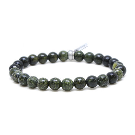Rust Elastic Beaded Bracelet // Silver Ox + Green