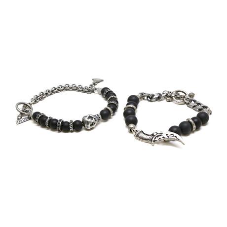 Skull + Dagger Beaded Bracelet Set // Silver Ox + Onyx
