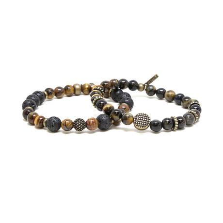 Mixed Bead Elastic Bracelet Set // Brass + Tiger's Eye
