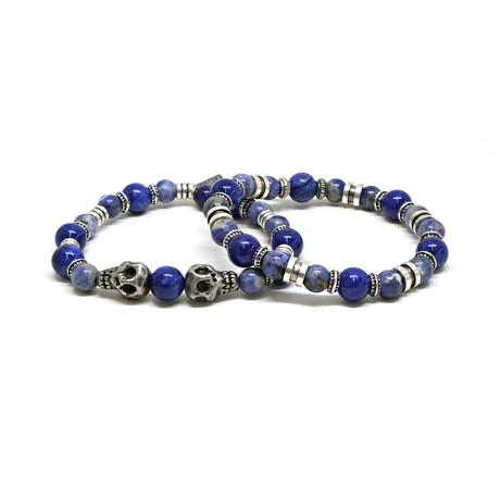 Skull Sodalite Beaded Bracelet // Blue + Silver Ox